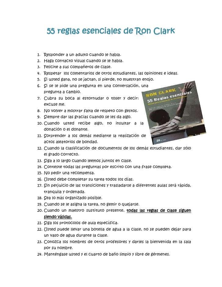 55 reglas esenciales de ron clark for 10 reglas para el salon de clases en ingles
