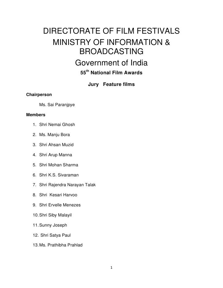 DIRECTORATE OF FILM FESTIVALS            MINISTRY OF INFORMATION &                  BROADCASTING            ...
