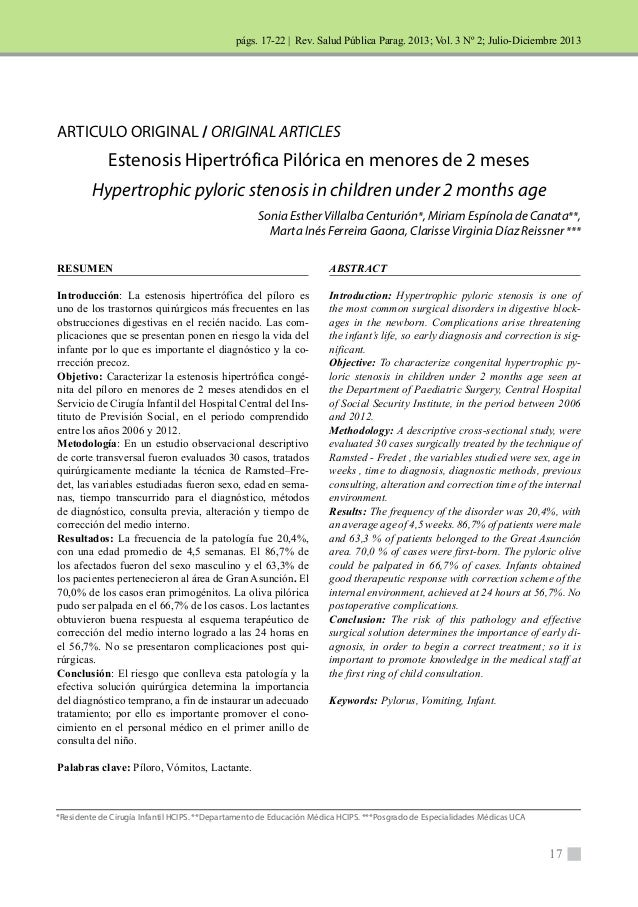 | Rev. Salud Pública Parag. 2013; Vol. 3 Nº 2; Julio-Diciembre 2013  ABSTRACT  Introduction: Hypertrophic pyloric stenosis...