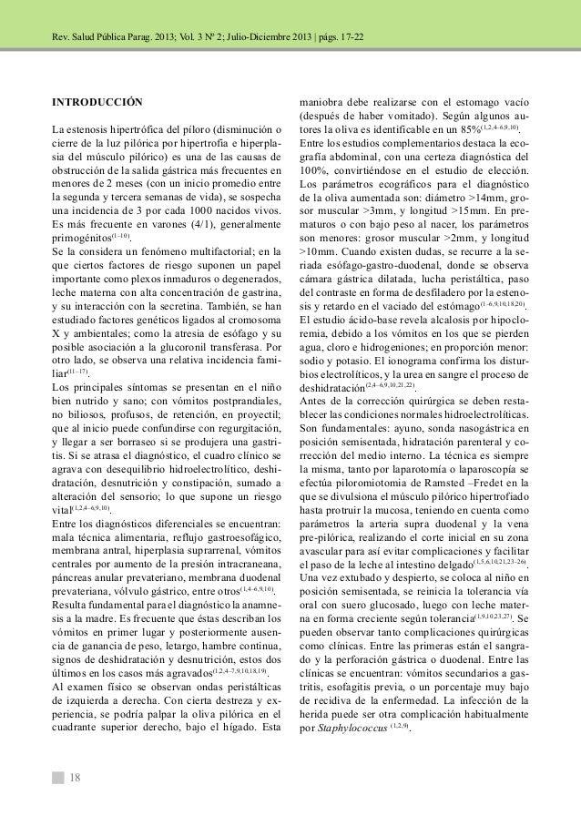 Rev. Salud Pública Parag. 2013; Vol. 3 Nº 2; Julio-Diciembre 2013 |  INTRODUCCIÓN  La estenosis hipertrófica del píloro (d...