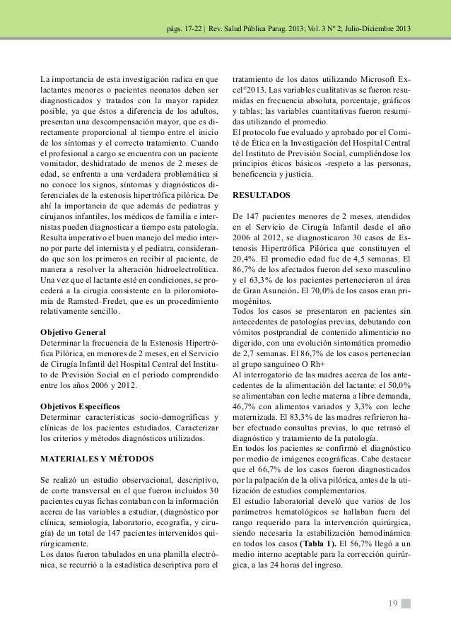 | Rev. Salud Pública Parag. 2013; Vol. 3 Nº 2; Julio-Diciembre 2013  19  La importancia de esta investigación radica en qu...