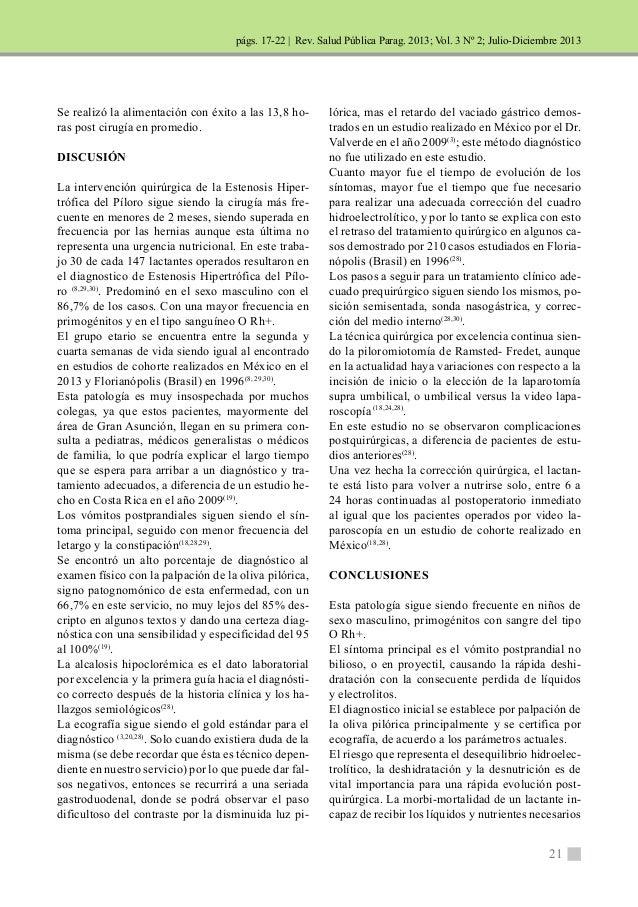 | Rev. Salud Pública Parag. 2013; Vol. 3 Nº 2; Julio-Diciembre 2013  21  Se realizó la alimentación con éxito a las 13,8 h...