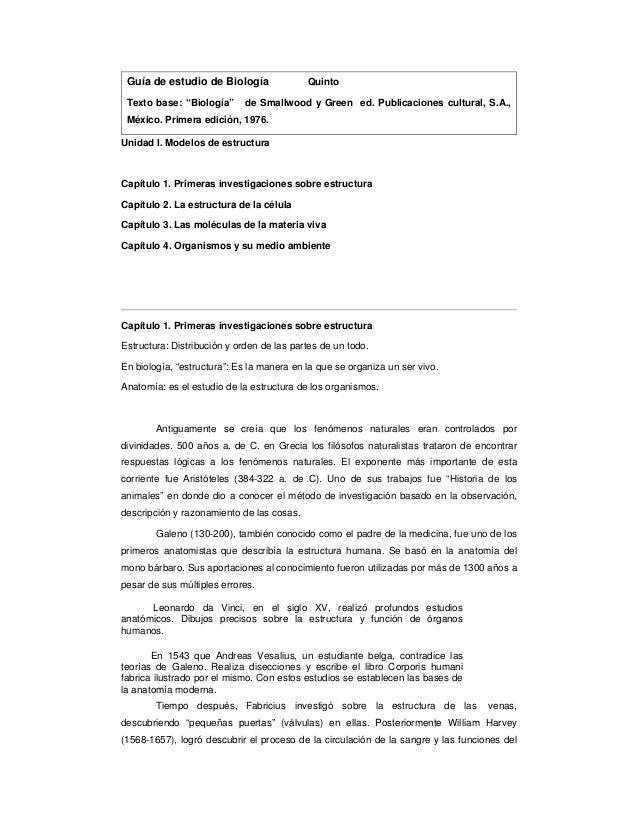 """Guía de estudio de Biología               Quinto Texto base: """"Biología""""      de Smallwood y Green ed. Publicaciones cultur..."""