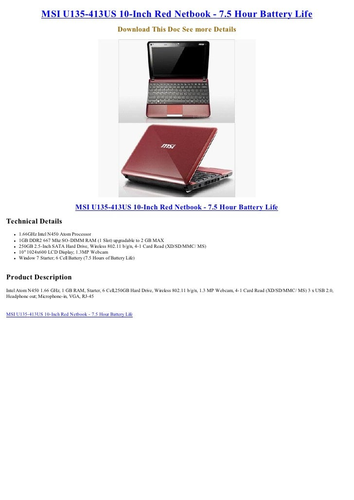MSI U135-413US 10-Inch Red Netbook - 7.5 Hour Battery Life                                                    Download Thi...