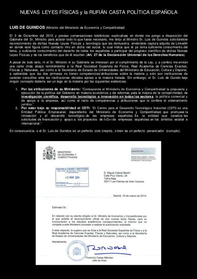 NUEVAS LEYES FÍSICAS y la RUFIÁN CASTA POLÍTICA ESPAÑOLA LUIS DE GUINDOS (Ministro del Ministerio de Economía y Competitiv...