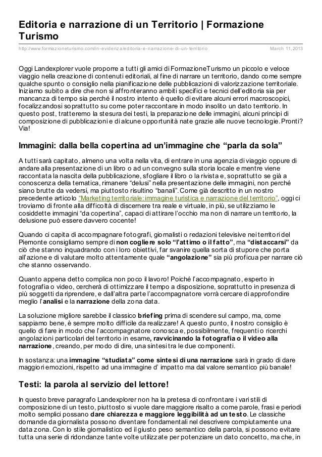 Editoria e narrazione di un Territorio | FormazioneTurismohttp://www.formaz ioneturismo.com/in- evidenz a/editoria- e- nar...