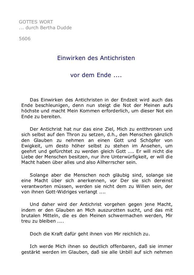 GOTTES WORT ... durch Bertha Dudde 5606 Einwirken des Antichristen vor dem Ende .... Das Einwirken des Antichristen in der...