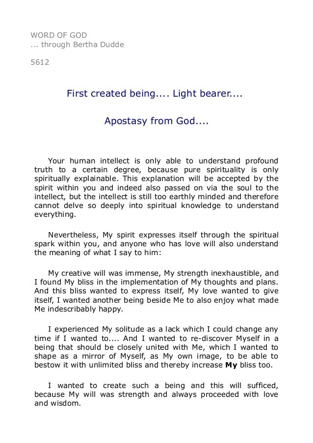 WORD OF GOD Through Bertha Dudde 5612 First Created Being