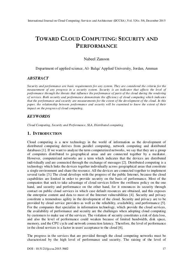 International Journal on Cloud Computing: Services and Architecture (IJCCSA) ,Vol. 5,No. 5/6, December 2015 DOI : 10.5121/...