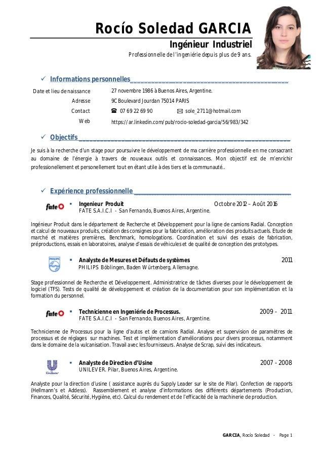GARCIA, Rocío Soledad - Page 1 Rocío Soledad GARCIA Ingénieur Industriel Professionnelle de l'ingeniérie depuis plus de 9 ...