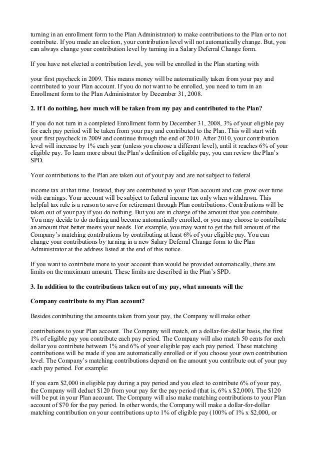 401k QACA Notice 2009
