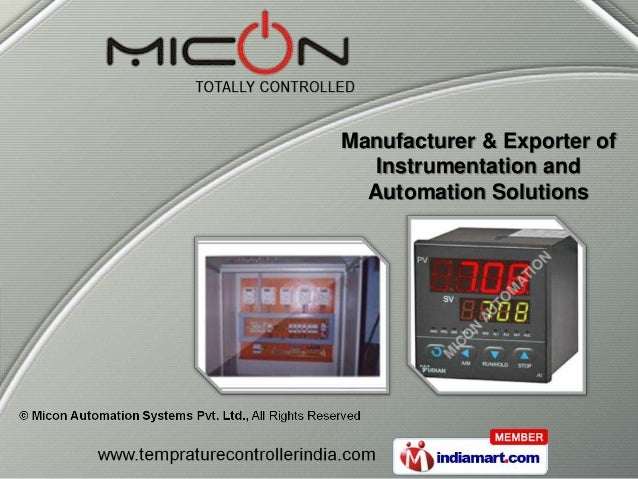 Manufacturer & Exporter of   Instrumentation and  Automation Solutions