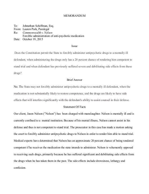 Writing Sample- Nelson Memo