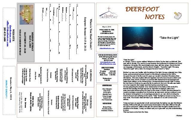 May 6, 2018 GreetersMay6,2018 IMPACTGROUP1 DEERFOOTDEERFOOTDEERFOOTDEERFOOT NOTESNOTESNOTESNOTES WELCOME TO THE DEERFOOT C...