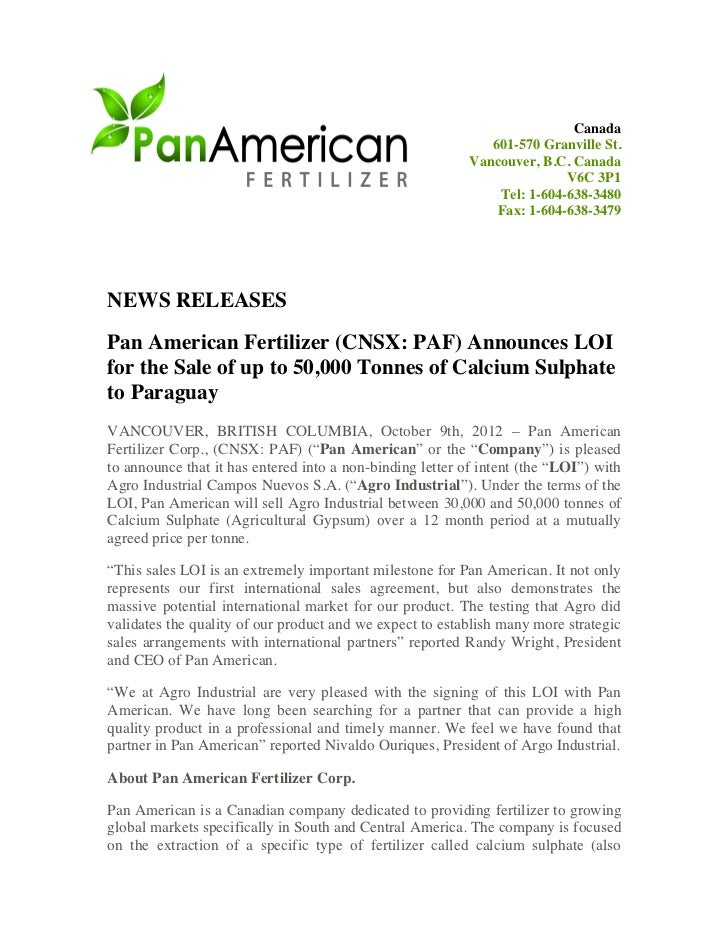Pan American Fertilizer Corp Cnsx Paf Announces Loi For The Sale