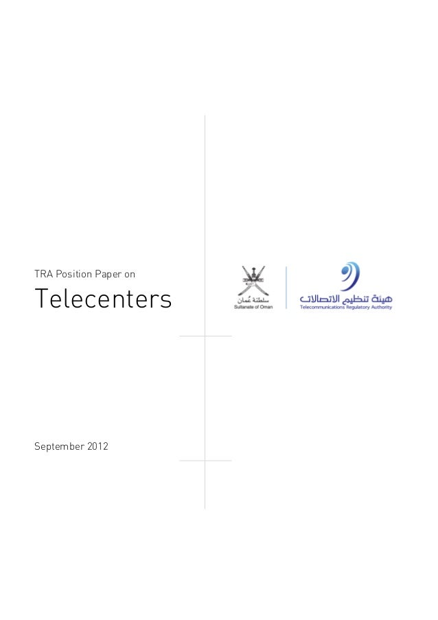 September 2012 TRA Position Paper on Telecenters