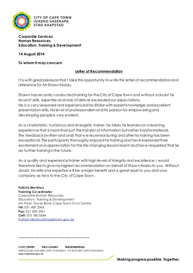 city of cape town reference letter