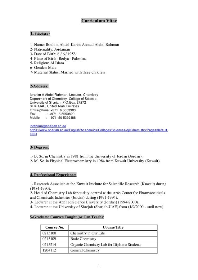 ibrahim cv 2016 updated rh slideshare net Organic Chemistry Lab Survival Manual PDF Chemistry Laboratory