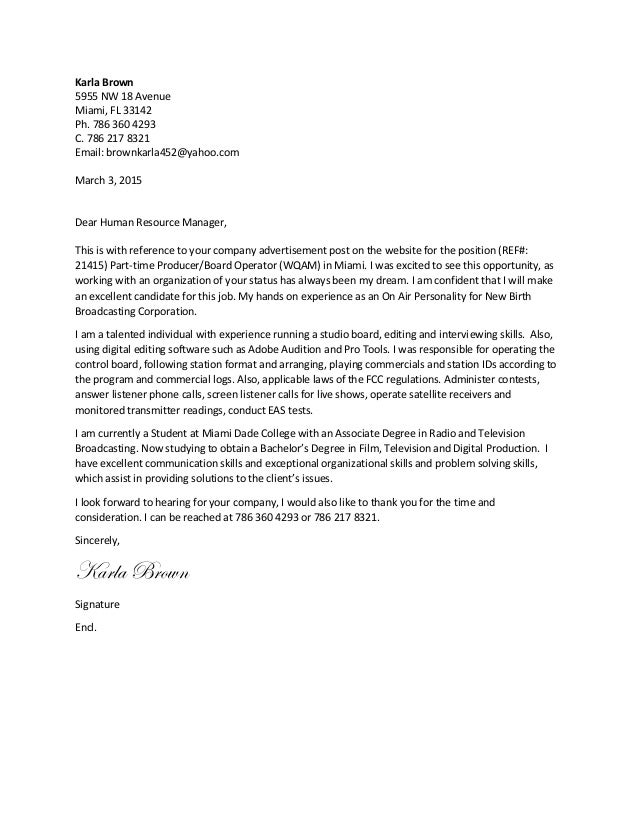 Karla Brown - Film, Television and Digital Production - Cover Letter