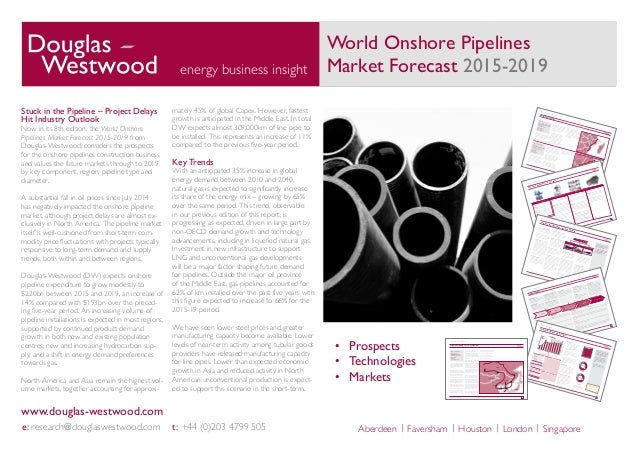 World Onshore Pipelines Market Forecast 2015-2019energy business insight e: research@douglaswestwood.com t: +44 (0)203 479...