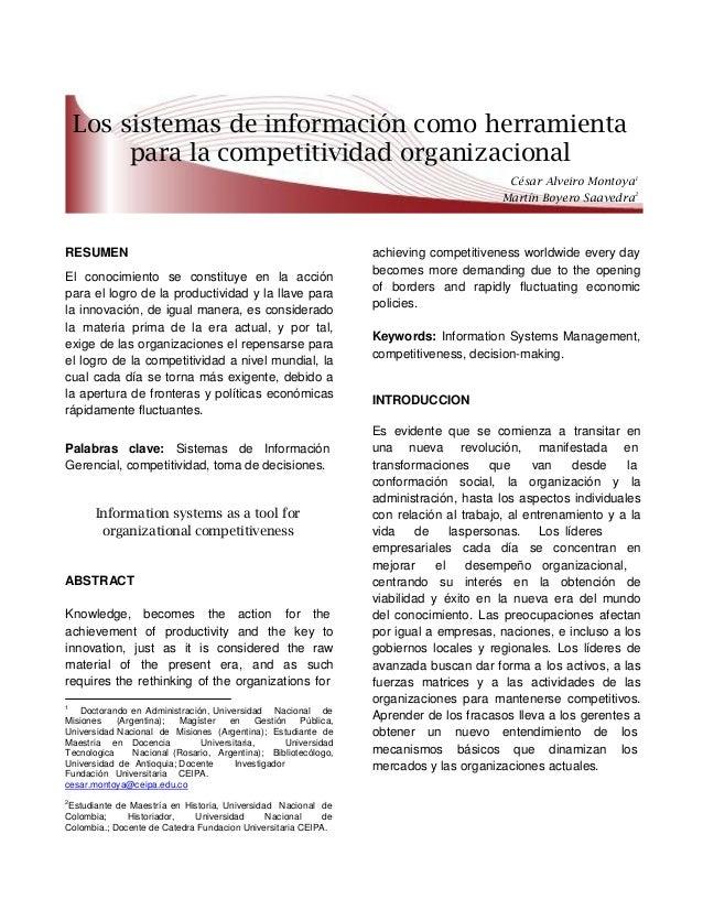 Los sistemas de información como herramientapara la competitividad organizacionalCésar Alveiro Montoya1Martín Boyero Saave...