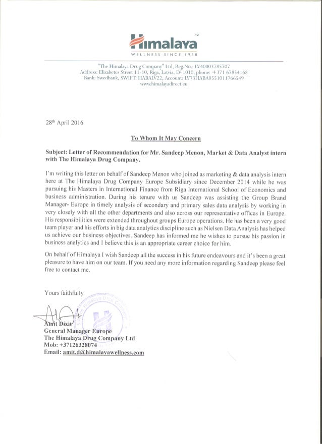 CEO REFERENCE LETTER