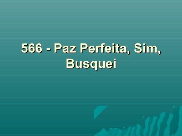 566 - Paz Perfeita, Sim,566 - Paz Perfeita, Sim, BusqueiBusquei