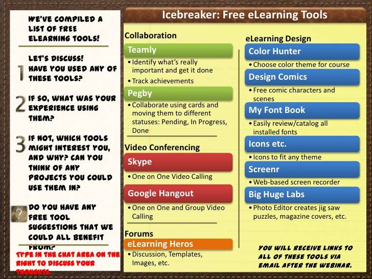 We've compiled a                       Icebreaker: Free eLearning Tools   list of FREE   eLearning tools!            Colla...