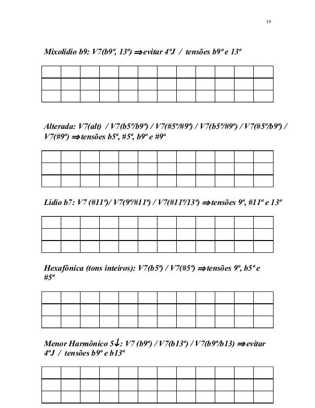 Mixolídio b9: V7(b9ª, 13ª) ⇒evitar 4ªJ / tensões b9ª e 13ª Alterada: V7(alt) / V7(b5ª/b9ª) / V7(#5ª/#9ª) / V7(b5ª/#9ª) / V...