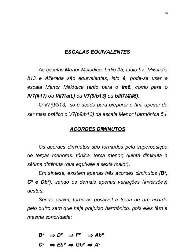 ESCALAS EQUIVALENTES As escalas Menor Melódica, Lídio #5, Lídio b7, Mixolídio b13 e Alterada são equivalentes, isto é, pod...