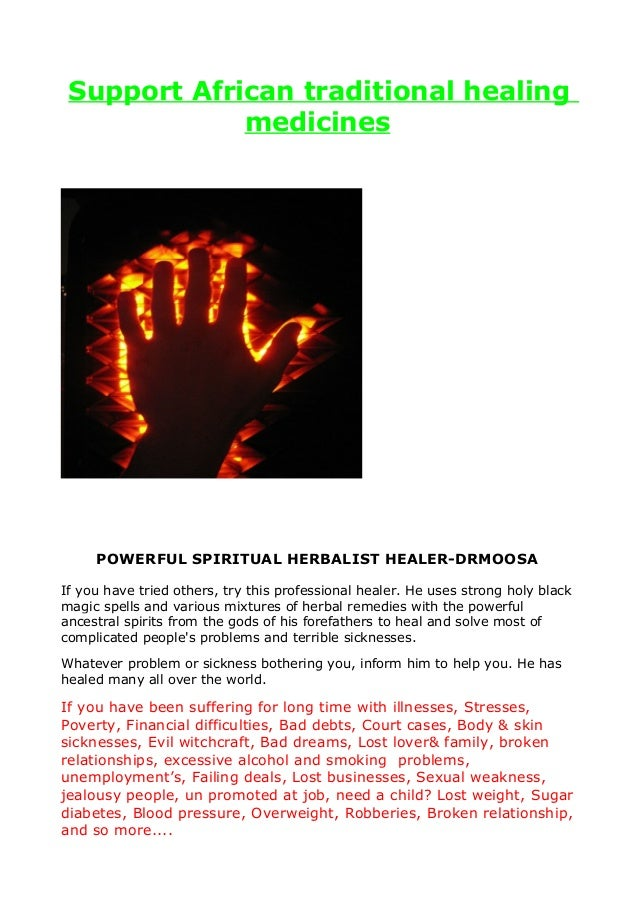 Support African traditional healing m