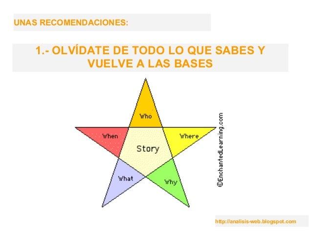 http://analisis-web.blogspot.com UNAS RECOMENDACIONES: 1.- OLVÍDATE DE TODO LO QUE SABES Y VUELVE A LAS BASES