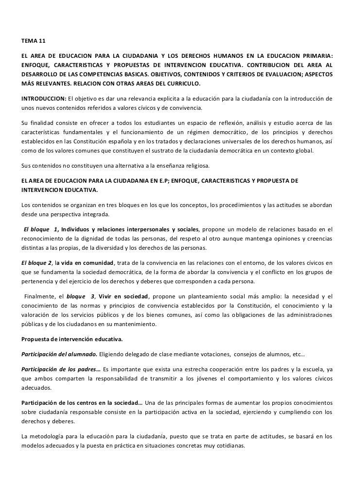 TEMA 11EL AREA DE EDUCACION PARA LA CIUDADANIA Y LOS DERECHOS HUMANOS EN LA EDUCACION PRIMARIA:ENFOQUE, CARACTERISTICAS Y ...