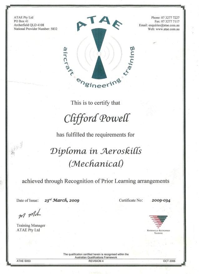 ATE Diploma in Aeroskills - Mech