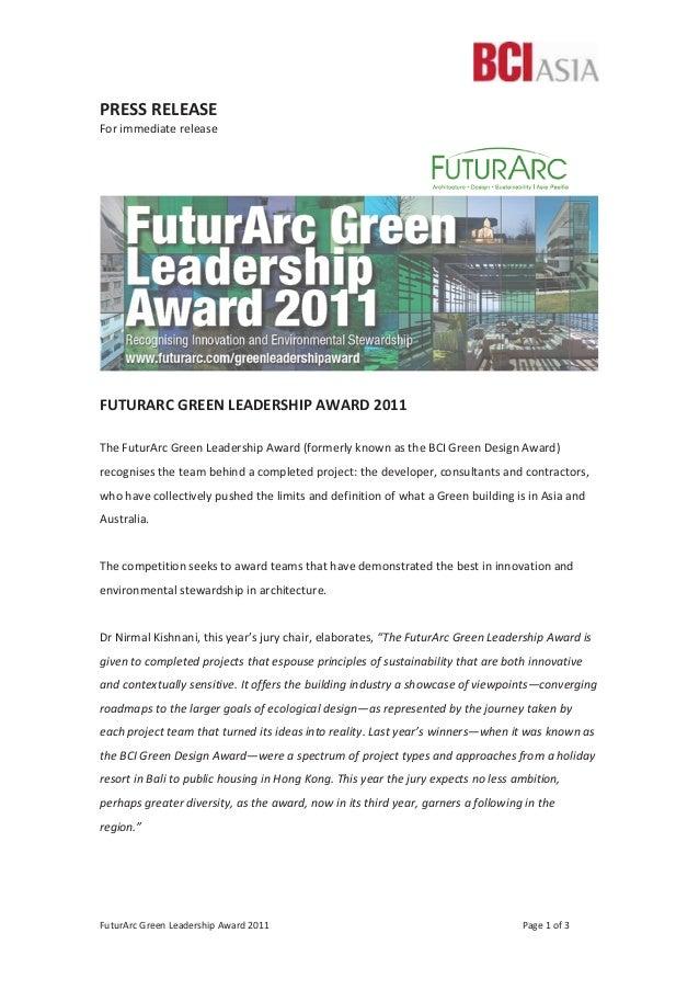FuturArc Green Leadership Award 2011 Page 1 of 3 PRESS RELEASE For immediate release FUTURARC GREEN LEADERSHIP AWARD 2011 ...
