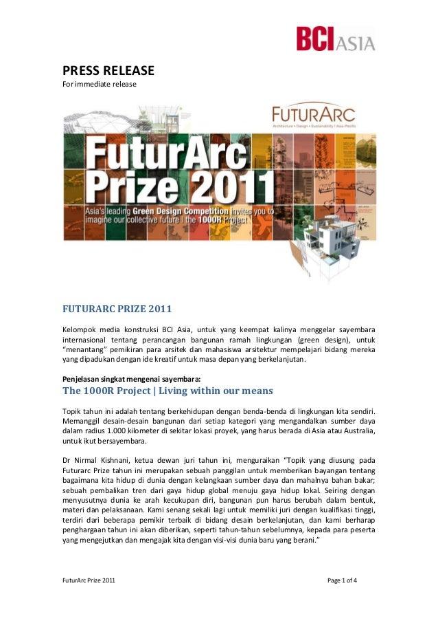 FuturArcPrize2011        Page1of4 PRESSRELEASE Forimmediaterelease   FUTURARCPRIZE2011  Kelompok...