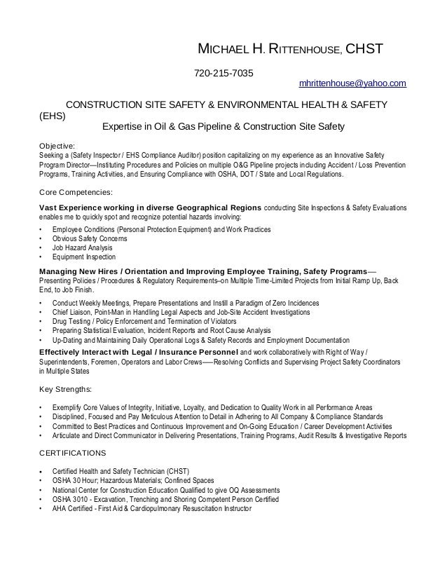 Good RITTENHOUSE Inspector Resume. MICHAEL H. RITTENHOUSE, CHST 720 215 7035  Mhrittenhouse@yahoo.com ... Intended For Construction Inspector Resume