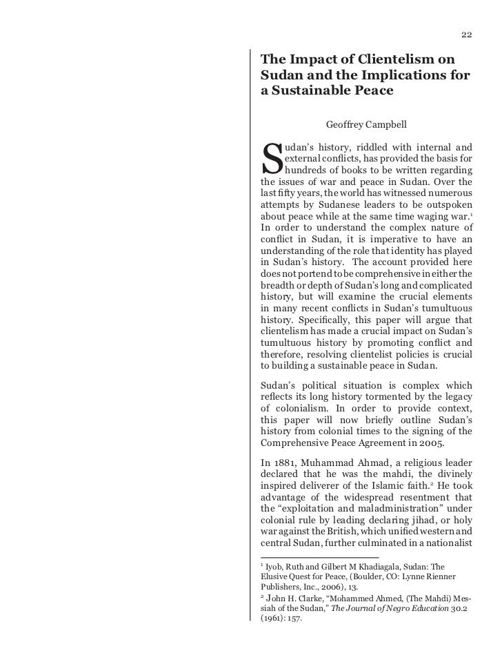 22The Impact of Clientelism onSudan and the Implications fora Sustainable Peace                 Geoffrey CampbellS       u...