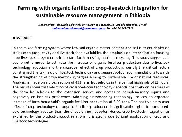 Farming with organic fertilizer: crop-livestock integration for sustainable resource management in Ethiopia Hailemariam Te...