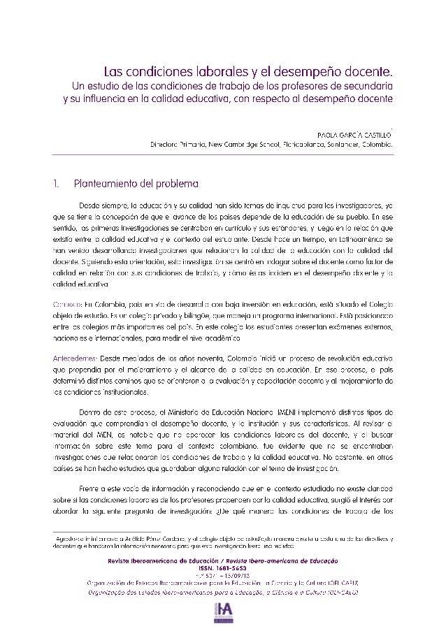Las condiciones laborales y el desempeño docente.