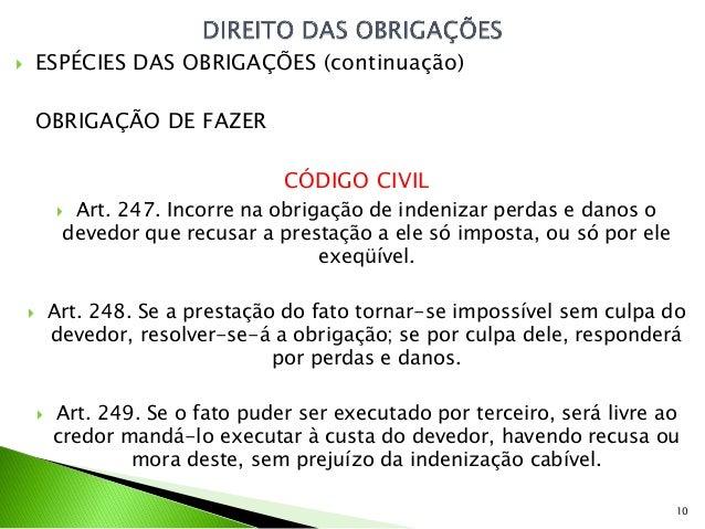        ESPÉCIES DAS OBRIGAÇÕES (continuação)        OBRIGAÇÃO DE FAZER                                    CÓDIGO CIVIL   ...