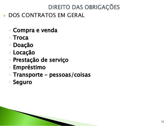    DOS CONTRATOS EM GERAL    ◦   Compra e venda    ◦   Troca    ◦   Doação    ◦   Locação    ◦   Prestação de serviço    ...