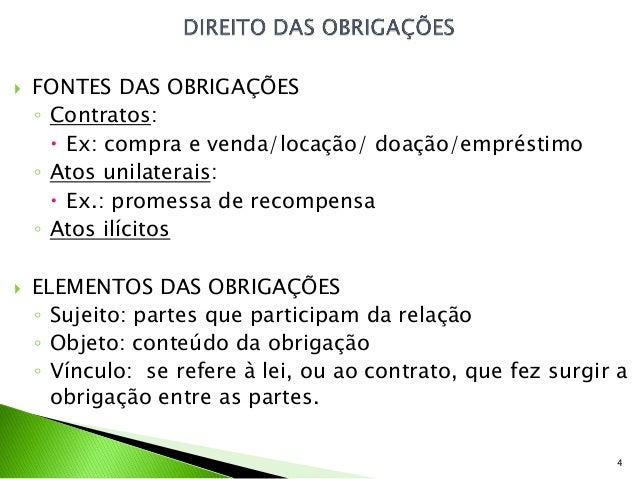    FONTES DAS OBRIGAÇÕES    ◦ Contratos:       Ex: compra e venda/locação/ doação/empréstimo    ◦ Atos unilaterais:     ...