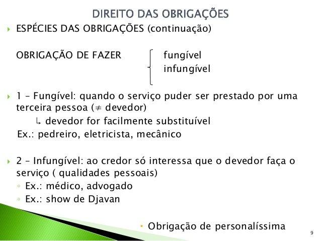    ESPÉCIES DAS OBRIGAÇÕES (continuação)    OBRIGAÇÃO DE FAZER             fungível                                   inf...