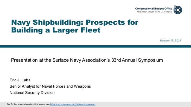 Presentation at the Surface Navy Association's 33rd Annual Symposium January 15, 2021 Eric J. Labs Senior Analyst for Nava...