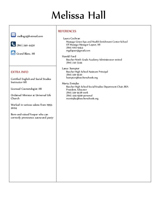 melissa hall new resume