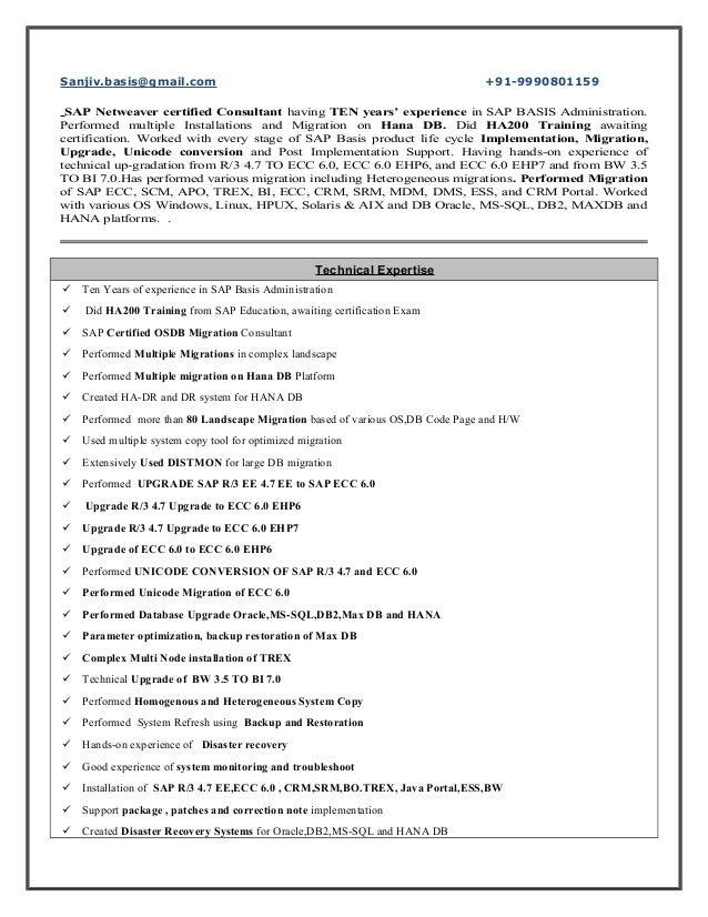 sap basis experience resume