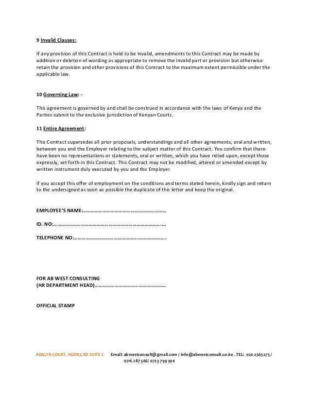 AB WEST SALES TEAM EMPLOYMENT CONTRACT