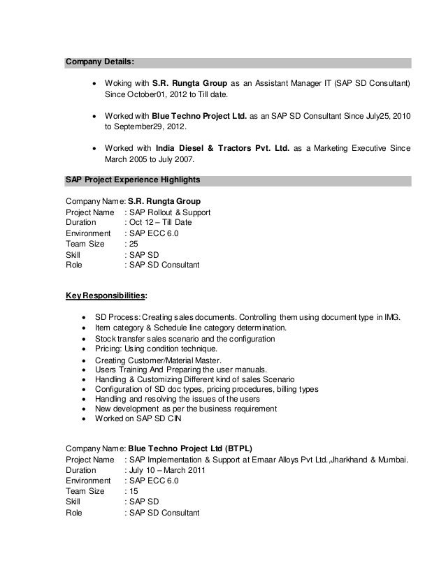 Ritesh SAP SD Resume – Sap Sd Sample Resume