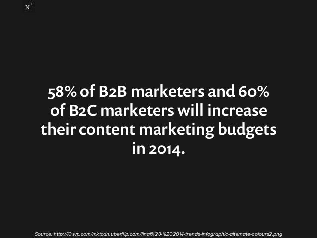 58% of B2B marketers and 60%  of B2C marketers will increase  their content marketing budgets  in 2014.  Source: http://i0...